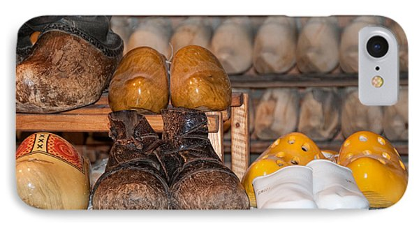 IPhone Case featuring the digital art Old Wooden Shoes by Carol Ailles