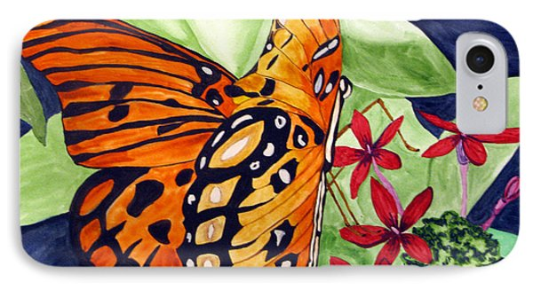 IPhone Case featuring the painting Precocious Butterfly by Debi Singer