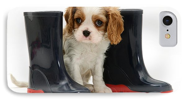 Puppy With Rain Boots Phone Case by Jane Burton