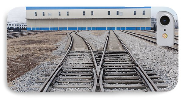 Railway Shed And Sidings. Bright Blue Phone Case by Guang Ho Zhu