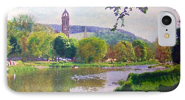 IPhone Case featuring the painting River Walk Reflections Peebles by Richard James Digance