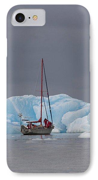 Sail Boat In Laguna San Rafael, Laguna Phone Case by Peter Langer