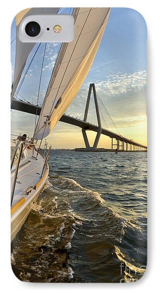 Sailing On The Charleston Harbor During Sunset Phone Case by Dustin K Ryan
