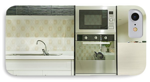 Small Modern Kitchen With Fitted Units IPhone Case