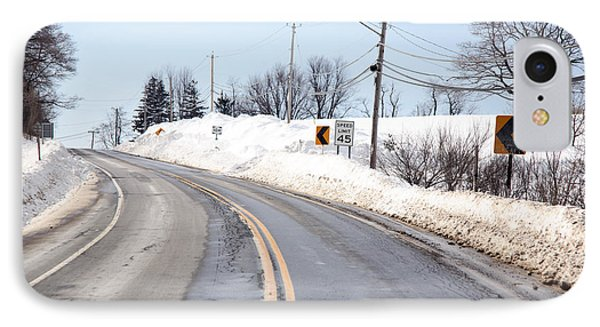 Snow By The Roadside Phone Case by Ted Kinsman
