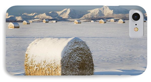 Snow-covered Hay Bales Okotoks Phone Case by Michael Interisano