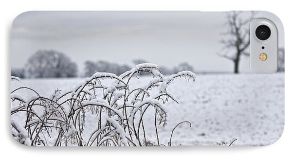Snow Covered Trees And Field Phone Case by John Short