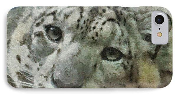 Snow Leopard Painterly IPhone Case by Ernie Echols
