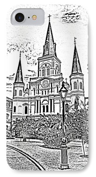 St Louis Cathedral Jackson Square French Quarter New Orleans Photocopy Digital Art  Phone Case by Shawn O'Brien