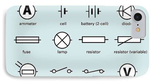 Standard Electrical Circuit Symbols Phone Case by Sheila Terry