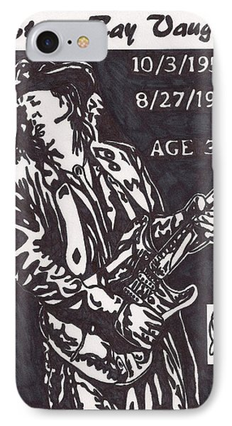 IPhone Case featuring the drawing Stevie Ray Vaughn by Jeremiah Colley