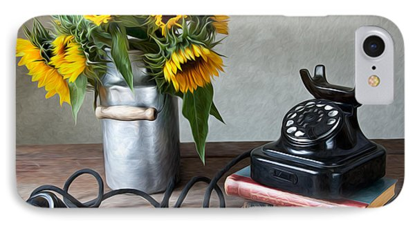 Sunflowers And Phone IPhone Case by Nailia Schwarz
