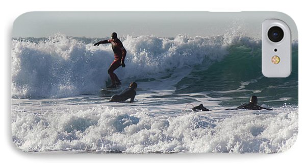 Surfers At Porthtowan Cornwall Phone Case by Brian Roscorla