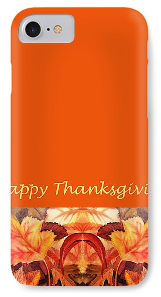 Thanksgiving Card IPhone Case by Irina Sztukowski