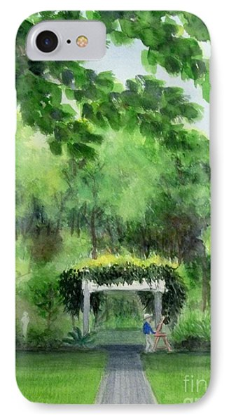 IPhone Case featuring the painting the garden at the wellers carriage house in Saline  Michigan 1 by Yoshiko Mishina
