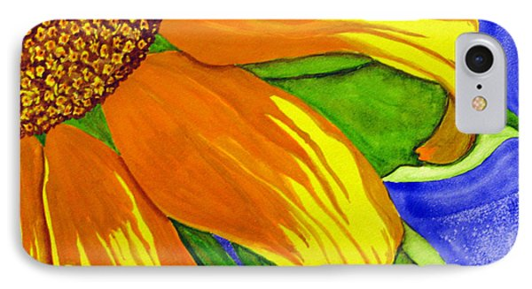 IPhone Case featuring the painting This Is No Subdued Sunflower by Debi Singer
