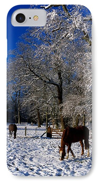 Thoroughbred Horses, Mares In Snow Phone Case by The Irish Image Collection