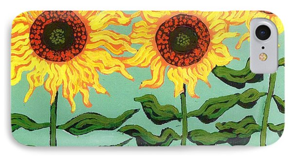 Three Sunflowers Phone Case by Genevieve Esson