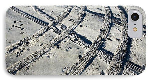 Tire Tracks And Footprints, Long Beach Peninsula, Washington Phone Case by Paul Edmondson