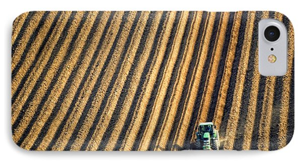 Tractor Plowing A Field Phone Case by John Short