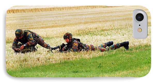 Two Soldiers Of The Belgian Army Phone Case by Luc De Jaeger