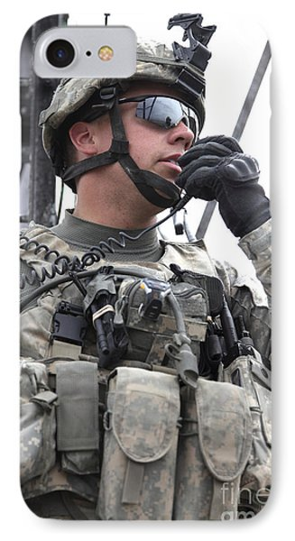 U.s. Army Soldier Communicates Phone Case by Stocktrek Images