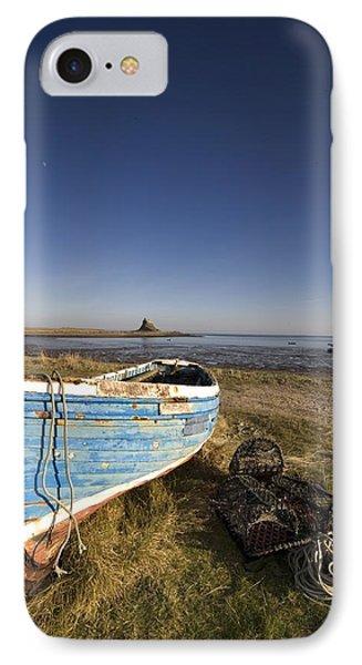 Weathered Fishing Boat On Shore, Holy Phone Case by John Short