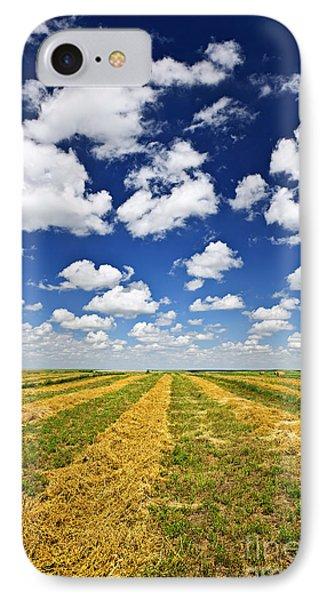 Wheat Farm Field At Harvest In Saskatchewan IPhone Case by Elena Elisseeva
