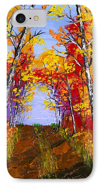 White Birch Tree Abstract Painting In Autumn IPhone Case by Keith Webber Jr
