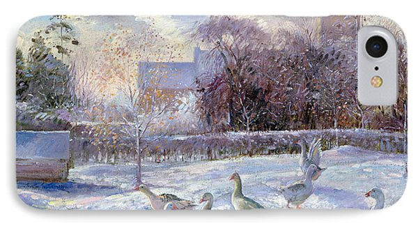 Winter Geese In Church Meadow Phone Case by Timothy Easton