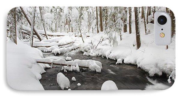 Winter Snow Along Still Creek In Mt Phone Case by Craig Tuttle