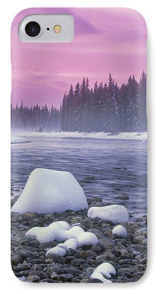 Winter Sunset On Bow River, Banff Phone Case by Darwin Wiggett