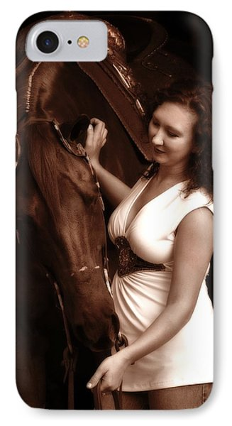 Woman And Horse Phone Case by Angela Rath