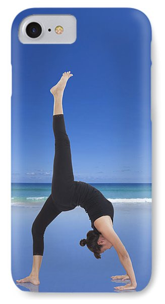Woman Doing Yoga On The Beach Phone Case by Setsiri Silapasuwanchai