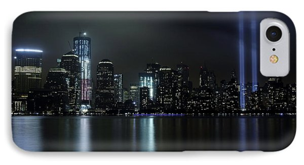 IPhone Case featuring the photograph World Trade Center Memorial Lights by Michael Dorn