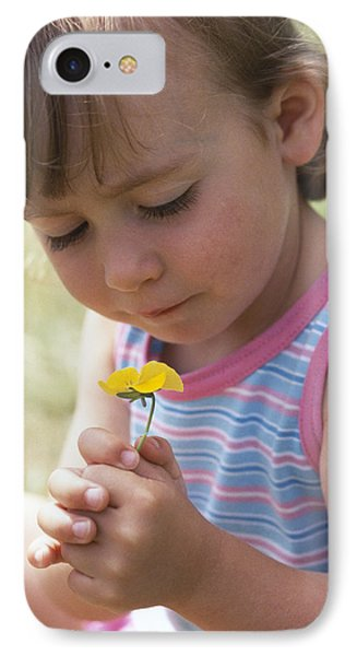 Young Girl With A Flower Phone Case by Ian Boddy