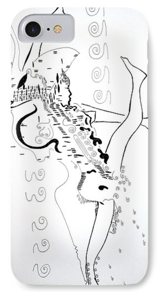 IPhone Case featuring the drawing Zulu Dance - South Africa by Gloria Ssali