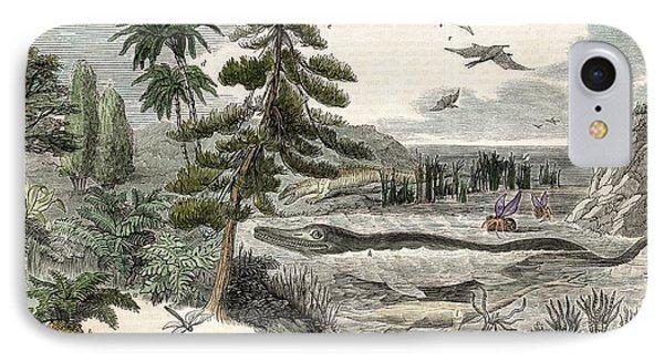 1833 Penny Magazine Extinct Animals Crop Phone Case by Paul D Stewart