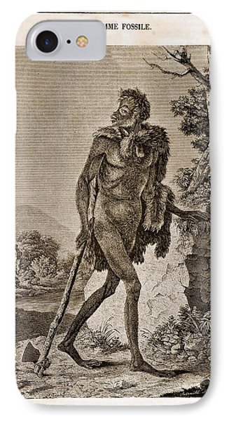 1838 Cave Man Engraving 'l'homme Fossile' Phone Case by Paul D Stewart