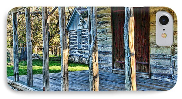 1860 Log Cabin Porch Phone Case by Linda Phelps