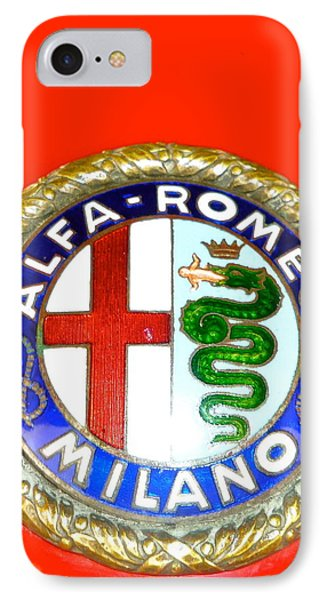 IPhone Case featuring the photograph 1938 Alfa Romeo 308c Hood Badge by John Colley