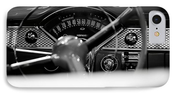 1955 Chevy Bel Air Dashboard In Black And White IPhone Case