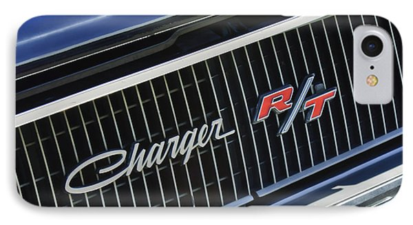 1968 Dodge Charger Rt Coupe 426 Hemi Upgrade Grille Emblem IPhone Case by Jill Reger