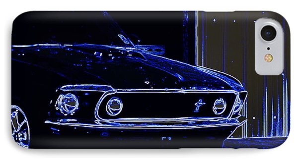 1969 Mustang In Neon Phone Case by Susan Bordelon