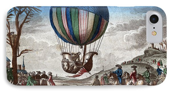 1st Manned Hydrogen Balloon Flight, 1783 Phone Case by Photo Researchers