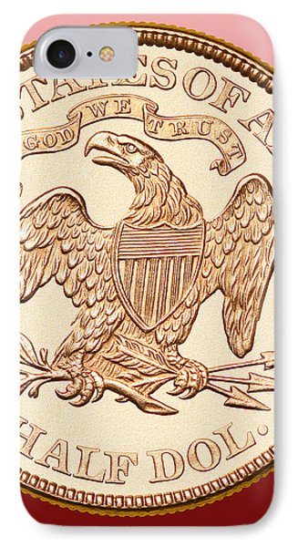 1870 Liberty Seated Half Dollar Phone Case by Jim Carrell