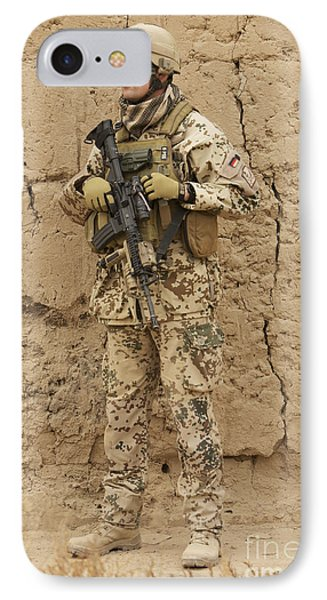 A German Army Soldier Armed With A M4 Phone Case by Terry Moore