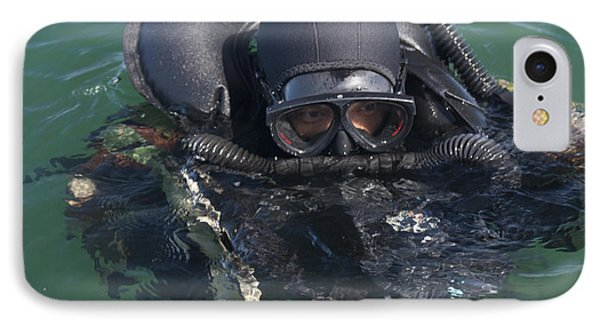 A Navy Seal Combat Swimmer Phone Case by Michael Wood
