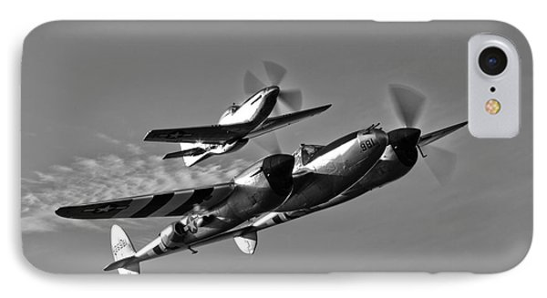 A P-38 Lightning And P-51d Mustang Phone Case by Scott Germain