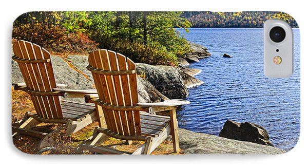 Adirondack Chairs At Lake Shore Phone Case by Elena Elisseeva